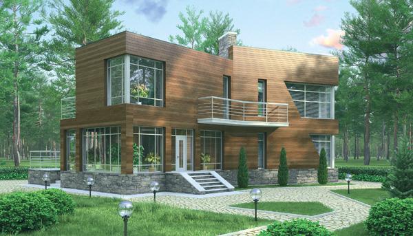 Дом с плоской кровлей на 205 м2 Коттедж с плоской крышей на 205 м2