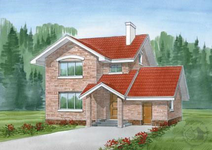 Двухэтажный дом из газобетона для семейной пары