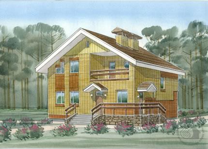 Маленький вместительный дом из пенобетона