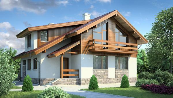 Дом в стиле шале на 2 этажа Загородный коттедж по мотивам шале