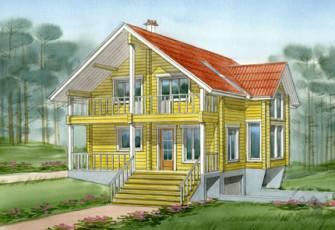Деревянный дом для участка с рельефом