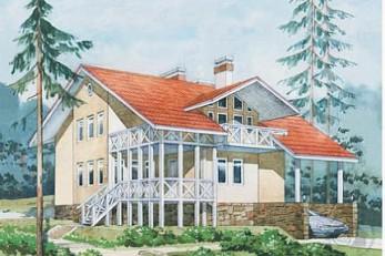 Трехэтажный отштукатуренный коттедж из дерева