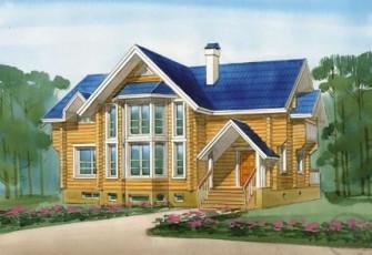 Вместительный дом из бревна для большой семьи