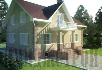Коттедж с красивым балконом и цоколем 200 кв.м.