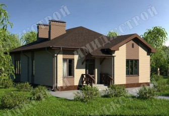 Одноэтажный дом на 109 м2 Небольшой одноэтажный дом в стиле кантри