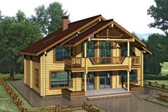 Уютный бревенчатый дом с террасами