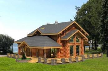 Деревянный дом с террасой