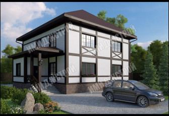 Коттедж с необычным фасадом 220 кв.м.
