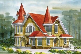 Дом с башнями из газобетона с элементами декоративного фахверка