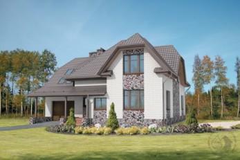 Мансардный шестикомнатный дом с гаражом
