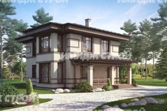 Проект двухэтажного дома из блоков с тремя спальными комнатами