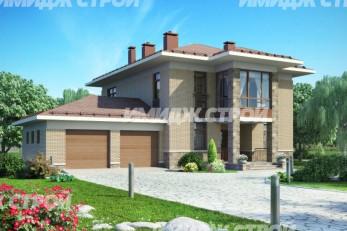 Проект двухэтажного дома с большой гостинной и гаражом на две машины