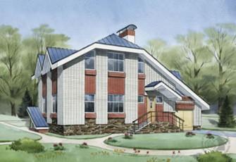 Трёхуровневый дом с длинным скатом