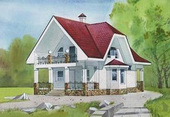 Двухэтажный небольшой дом со скошенной кровлей