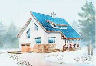 Маленький дом со скошенными окнами в мансарде