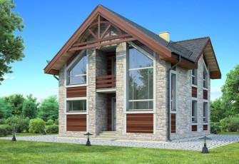 Дом из стекла и камня Загородный коттедж: камень и стекло