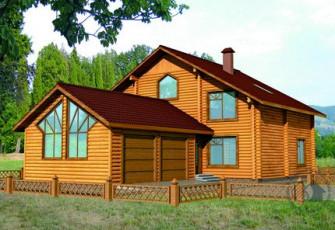 Деревянный дом с большим гаражом