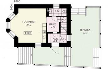 Дом-флигель с эркером