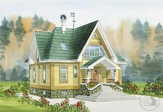 Компактный дом из бруса с цоколем и мансардой