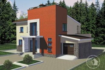 Двухэтажный дом из пенобетона с гаражом