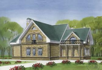 Современный загородный дом из газобетона