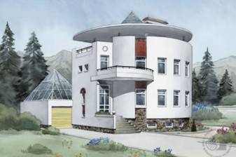 Цилиндрический дом с большим гаражом