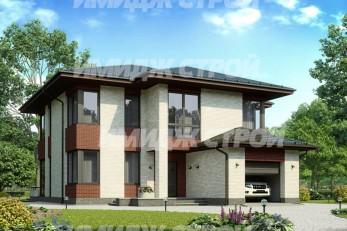 Проект загородного дома с четырьмя спальными комнатами и гаражом для одного автомобиля