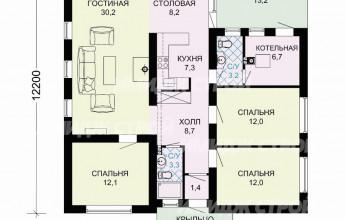 Проект одноэтажного дома из блока с тремя спальнями и закрытой террасой 111 кв.м.