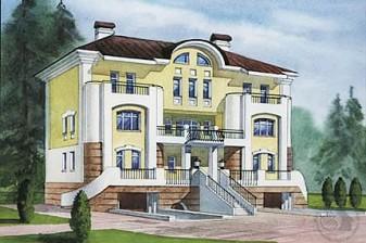 Респектабельный особняк из кирпича в стиле классической архитектуры