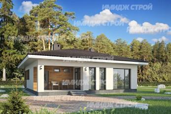 Проект одноэтажного дома из блока с тремя спальнями и закрытой террасой
