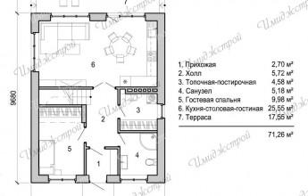 Коттедж с мансардным этажом 132 кв.м.