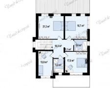 Дом с контрастным фасадом на 210 м2 Двухэтажный коттедж в европейском стиле
