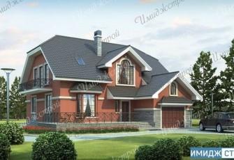 Оригинальный коттедж с гаражом и мансардой  Интересный загородный дом с мансардой