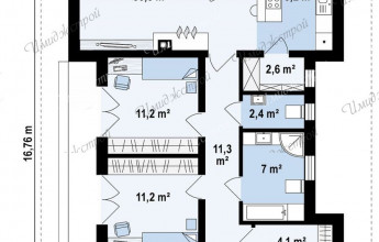 проект одноэтажного коттеджа из кирпича 12 на 12 метров