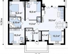 Эскиз коттеджа в один этаж 134 кв.м.