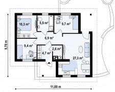 Проект небольшого дома в один этаж 78 кв.м.