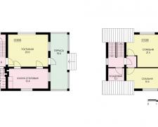 Каменно-блочный коттедж с балконом и террасой на первом этаже