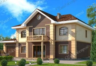 Дом с оригинальным фасадом в авторском стиле Коттедж с комбинированным фасадом на 293 м2